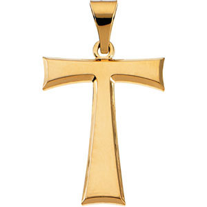 Tau Cross Pendant 14K Yellow Gold