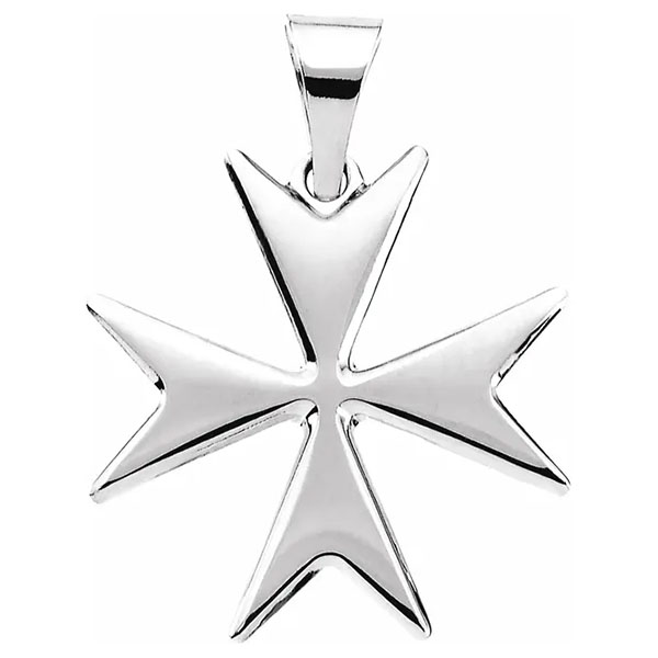 Maltese Cross Pendant 14K White Gold