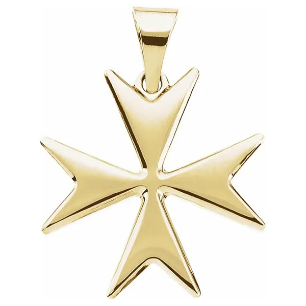 Maltese Cross Pendant 14K Yellow Gold