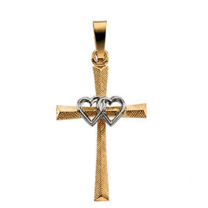Dual Heart Cross Pendant 14K Two-Tone Gold