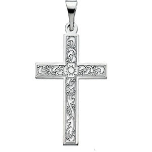 Small Floral Cross Pendant 14K White Gold