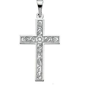 Flower Cross Pendant in 14K White Gold