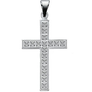 Checked Cross Pendant, 14K White Gold