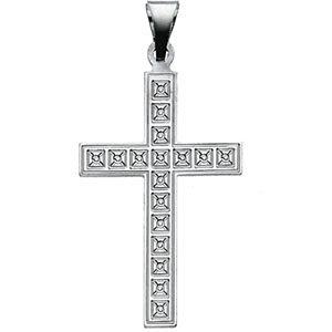 Box Cross Pendant, 14K White Gold