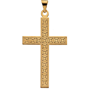 Box Cross Pendant in 14K Yellow Gold