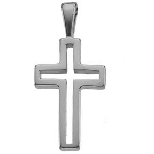 14K White Gold Small Cut-Out Cross Pendant