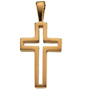 14K Yellow Gold Small Cut-Out Cross Pendant