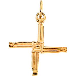 St Brigid's Cross Pendant, 14K Gold