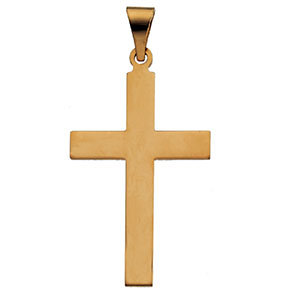 Small Plain Cross Pendant, 14K Yellow Gold