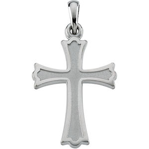 Trinity Cross Pendant, 14K White Gold