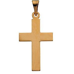 Small Plain Polished Cross Pendant, 14K Yellow Gold