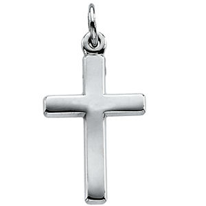 Small Polished Cross 14K White Gold