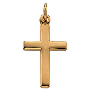 Small Polished Cross 14K Yellow Gold