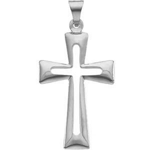 Cut-Out Latin Cross Pendant 14K White Gold
