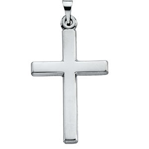 Plain Polished Latin Cross Pendant 14K White Gold