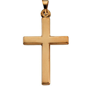 Polished Plain Latin Cross Pendant 14K Yellow Gold