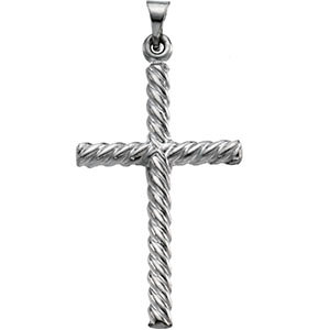 Swirl Cross Pendant in 14K White Gold