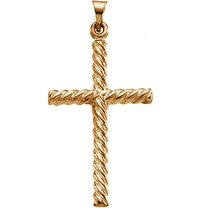 Twisted Rope Cross Pendant 14K Yellow Gold