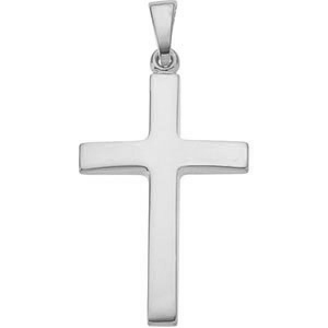 Plain Beveled Cross Pendant in 14K White Gold