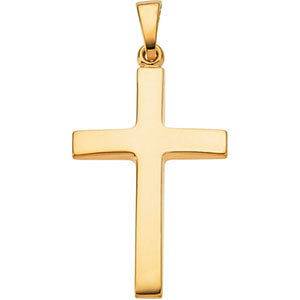 18K Gold Beveled Cross Pendant