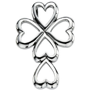 Heart Cross Pendant 14K White Gold
