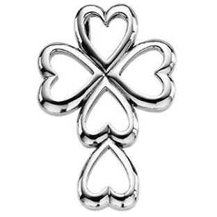 Heart Cross Pendant 14K White Gold