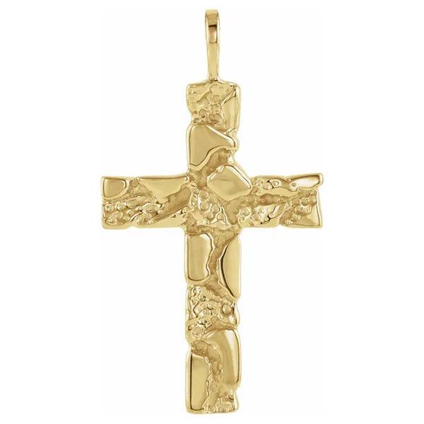 14K Gold Nugget Cross Pendant