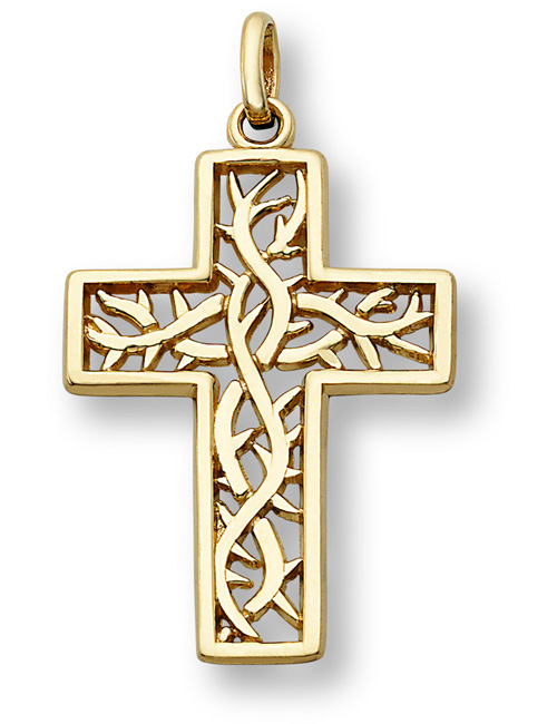 Crown of Thorns Cross Pendant in 14k Yellow Gold