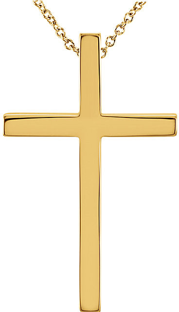 WOMENS GOLD CROSS NECKLACE WITH HIDDEN BALE