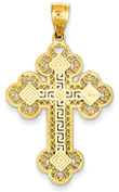 Greek Key Cross Pendant for Men, 14K Gold
