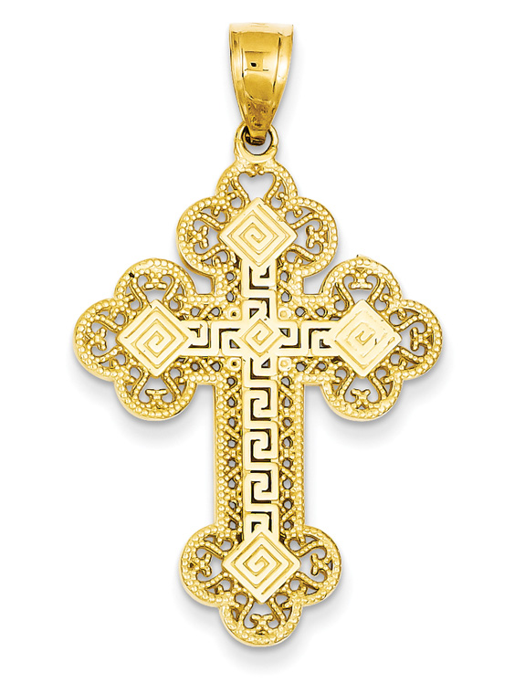Greek Key Cross Pendant for Men, 14K Gold