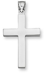 Large 14K Fully Solid White Gold Cross Pendant for Men