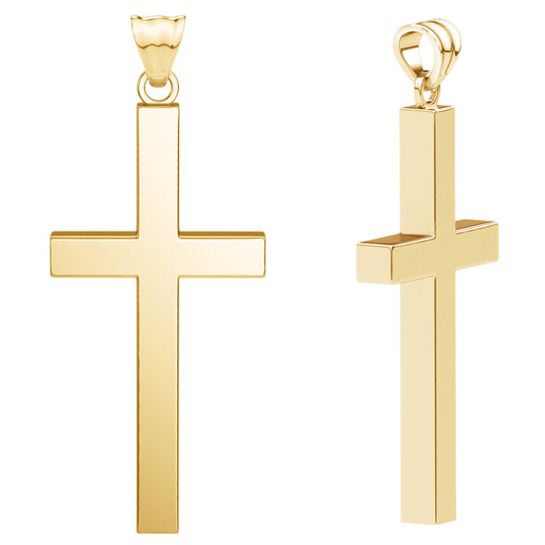 Large 18K Solid Gold Men's Calvary Cross Pendant
