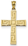 Men's 14K Gold Greek Key Cross Necklace