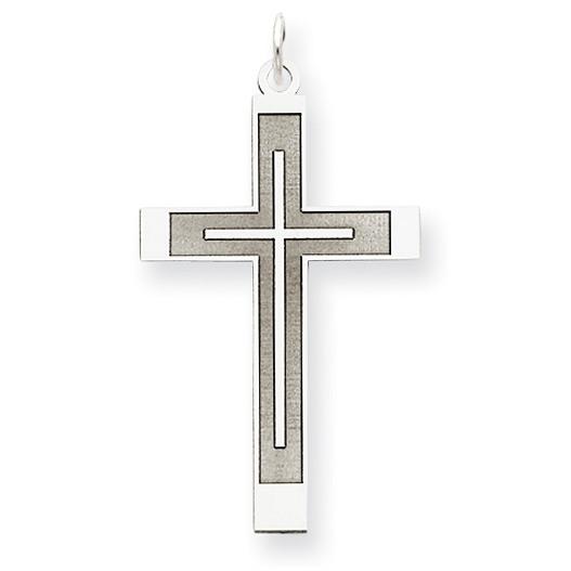 Men's 14K White Gold Cross within Cross Pendant