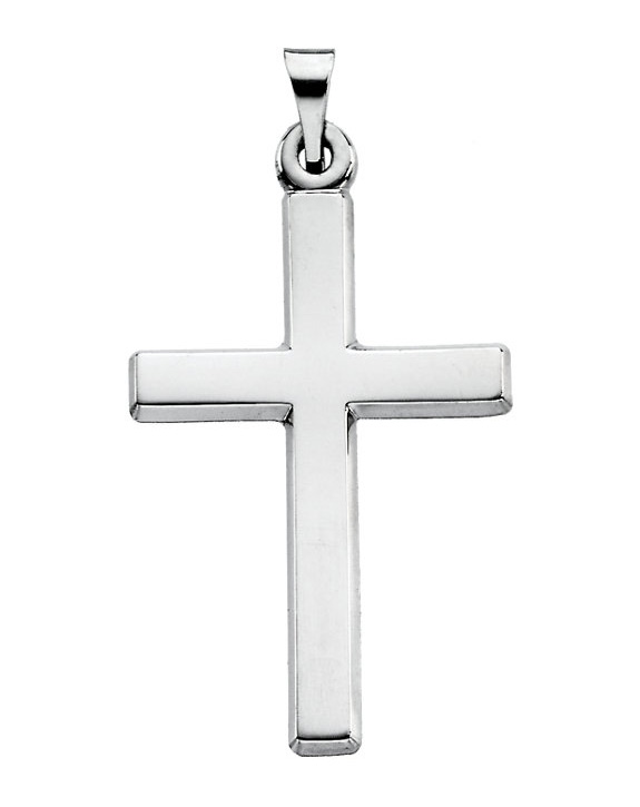 Plain Polished Platinum Cross Pendant