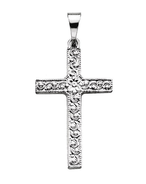 Small Women's Flower Etched Cross Pendant in 14K White Gold