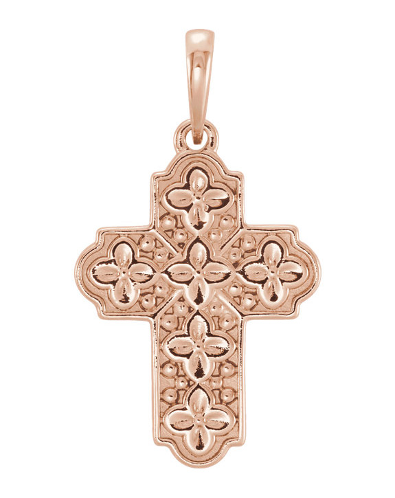 Small 14K Rose Gold Ornate Floral Cross Pendant