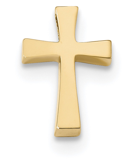 Small Polished Cross Slide Pendant in 14K Gold