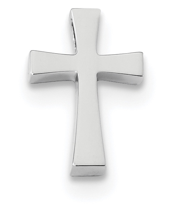 Small 14K White Gold Cross Slide Necklace