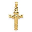 Small Women's 14K Gold Claddagh Cross Pendant