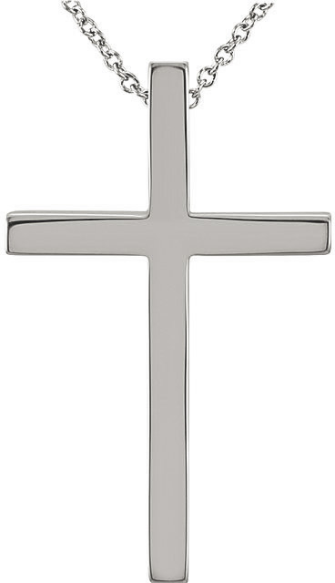 white gold cross necklace with hidden bale