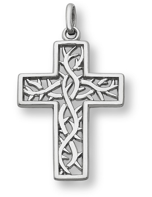 Crown of Thorns Cross Necklace in Sterling Silver