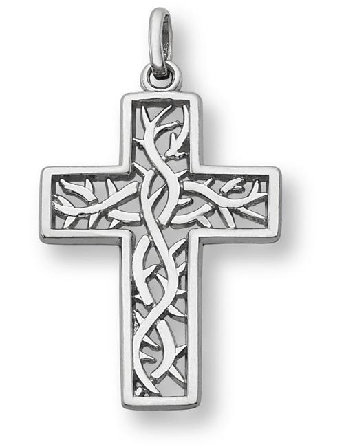 Crown of Thorns Cross Pendant, 14K White Gold
