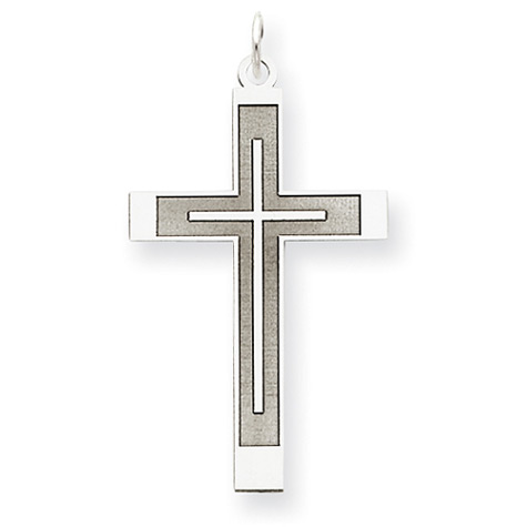 Women's Cross Inside Cross Pendant in 14K White Gold