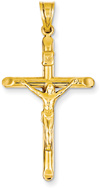 Traditional 14K Yellow Gold Crucifix Pendant