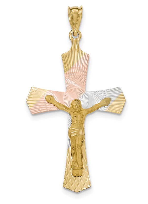 Large 14K Gold Tri-Color Crucifix Pendant for Men with Diamond Cut