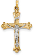 Men's 14K Two-Tone Gold Textured INRI Crucifix Pendant