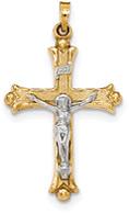 Men's 14K Two-Tone Gold Textured INRI Crucifix Pendant