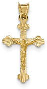 14K Gold Crucifix Pendant with Diamond-Cut Design